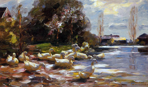 Alexander Koester Ducks on a Riverbank on a Sunny Afternoon - Hand Painted Oil Painting
