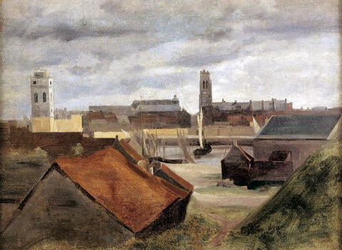 Jean-Baptiste-Camille Corot Dunkirk, the Fishing Docks - Hand Painted Oil Painting