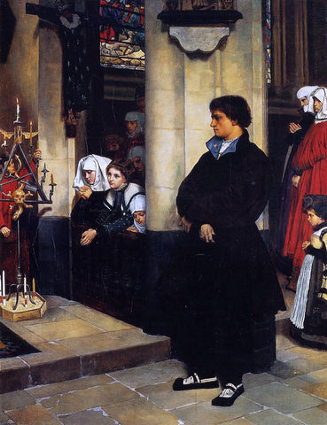 James Tissot During the Service (also known as Martin Luther's Doubts) - Hand Painted Oil Painting