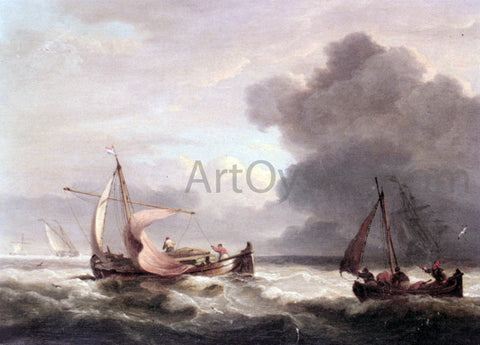 Thomas Luny Dutch Barges In Open Seas - Hand Painted Oil Painting