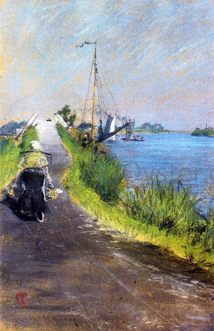 William Merritt Chase Dutch Canal (also known as Canal Path Holland) - Hand Painted Oil Painting