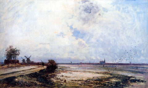 Johan Barthold Jongkind Dutch Landscape - Hand Painted Oil Painting