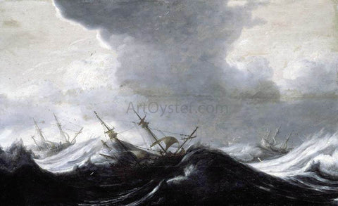 The Elder Pieter Mulier Dutch Shipping in Heavy Seas - Hand Painted Oil Painting