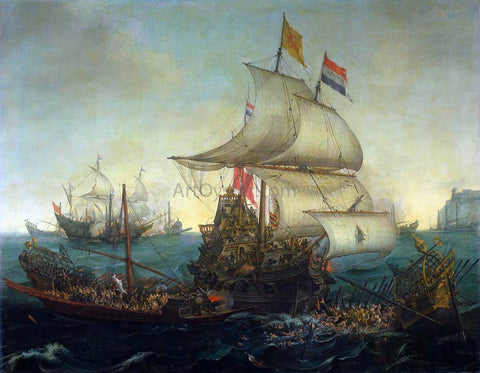 Hendrick Cornelisz Vroom Dutch Ships Ramming Spanish Galleys off the Flemish Coast in October 1602 - Hand Painted Oil Painting
