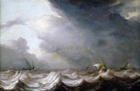 The Elder Pieter Mulier Dutch Vessels at Sea in Stormy Weather - Hand Painted Oil Painting