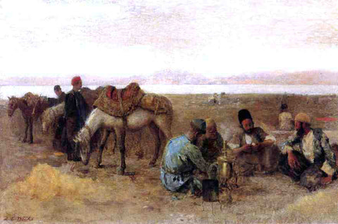 Edwin Lord Weeks Early Morning by Lake Urumiyah, Persia - Hand Painted Oil Painting