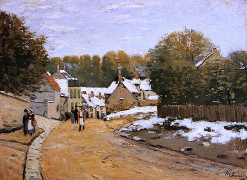 Alfred Sisley Early Snow at Louveciennes (also known as Rue de Voisins, Louveciennes: First Snow) - Hand Painted Oil Painting