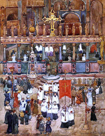 Maurice Prendergast Easter Procession, St. Mark's - Hand Painted Oil Painting