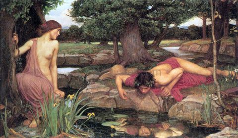 John William Waterhouse Echo and Narcissus - Hand Painted Oil Painting