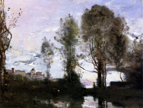 Jean-Baptiste-Camille Corot Edge of a Lake (also known as Souvenir of Italy) - Hand Painted Oil Painting