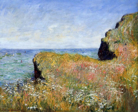 Claude Oscar Monet Edge of the Cliff, at Pourville - Hand Painted Oil Painting
