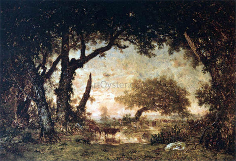 Theodore Rousseau Edge of the Forest at Fontainebleau, Setting Sun - Hand Painted Oil Painting