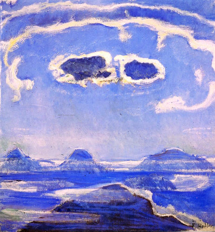 Ferdinand Hodler Eiger, Monch and Jungfrau in Moonlight - Hand Painted Oil Painting
