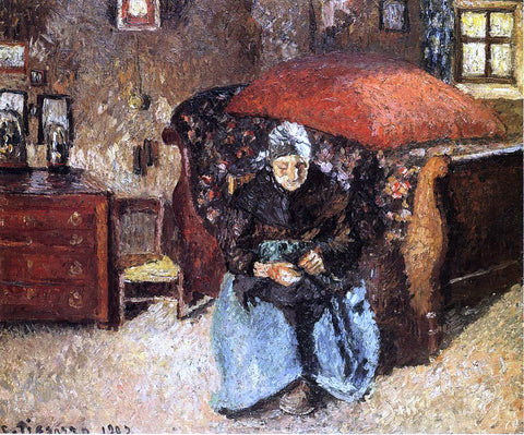 Camille Pissarro Elderly Woman Mending Old Clothes, Moret - Hand Painted Oil Painting