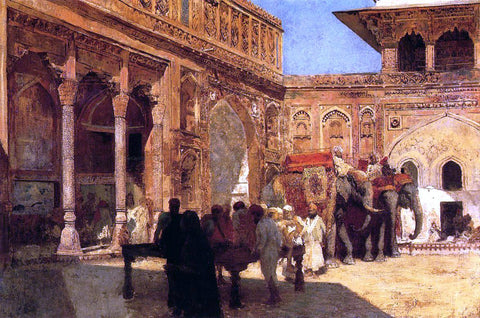 Edwin Lord Weeks Elephants and Figures in a Courtyard, Fort Agra - Hand Painted Oil Painting
