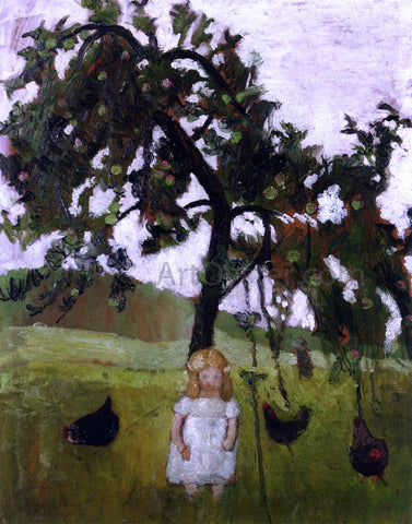 Paula Modersohn-Becker Elizabeth with Hens under an Apple Tree - Hand Painted Oil Painting