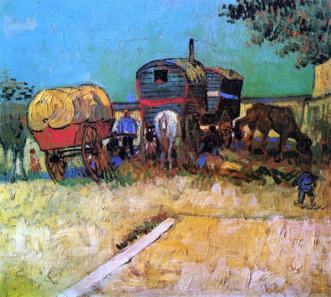 Vincent Van Gogh An Encampment of Gypsies with Caravans - Hand Painted Oil Painting