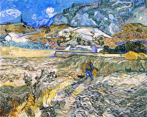 Vincent Van Gogh Enclosed Field with Peasant (also known as Landscape at Saint-Remy) - Hand Painted Oil Painting