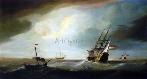 Thomas Allen English and Dutch Men of War in a Swell - Hand Painted Oil Painting