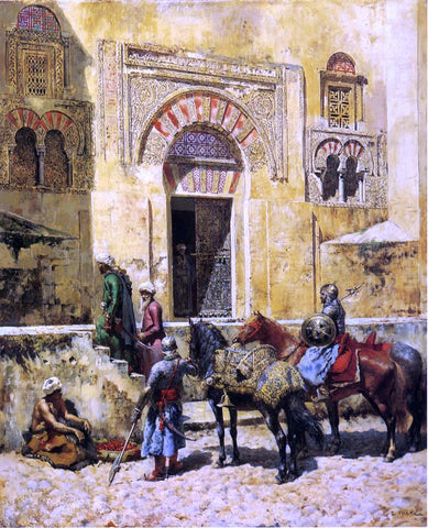Edwin Lord Weeks Entering the Mosque - Hand Painted Oil Painting
