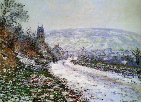 Claude Oscar Monet Entering the Village of Vetheuil in Winter - Hand Painted Oil Painting