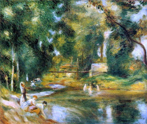 Pierre Auguste Renoir Essoyes Landscape - Washerwoman and Bathers - Hand Painted Oil Painting
