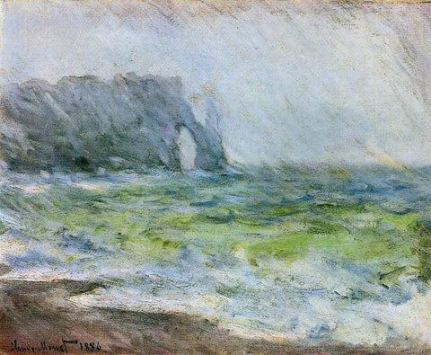 Claude Oscar Monet Etretat in the Rain - Hand Painted Oil Painting
