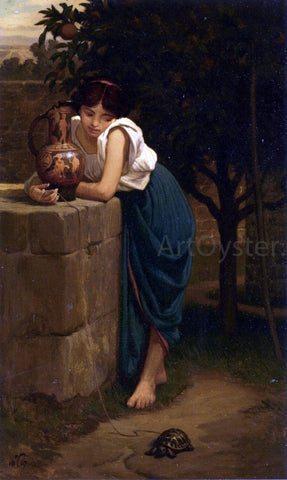 Elihu Vedder Etruscan Girl with Turtle - Hand Painted Oil Painting