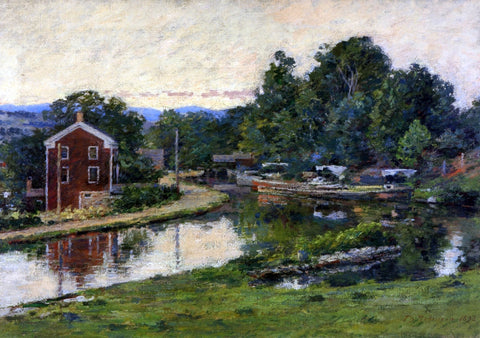 Theodore Robinson Evening at the Lock - Hand Painted Oil Painting