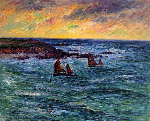 Henri Moret Evening, Audierne - Hand Painted Oil Painting