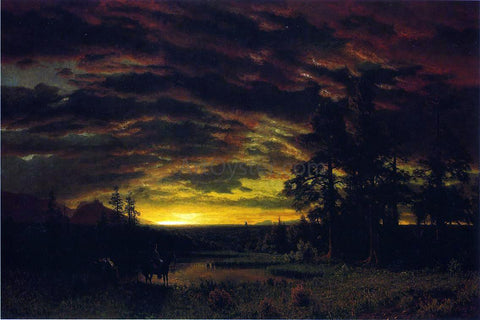 Albert Bierstadt Evening on the Prarie - Hand Painted Oil Painting
