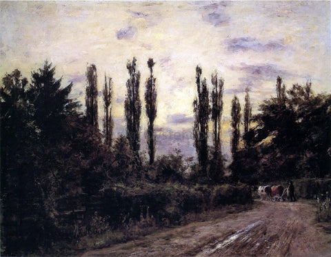 Theodore Clement Steele Evening, Poplars and Roadway near Schleissheim - Hand Painted Oil Painting