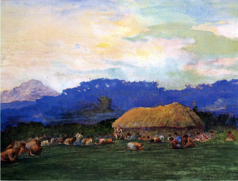 John La Farge Evening Prayer in Devil Country, Fiji, Ngalawana, July 5, 1891 - Hand Painted Oil Painting