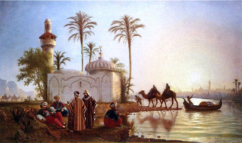 Fortunato Arriola Evening Smoke by the Mosque - Hand Painted Oil Painting