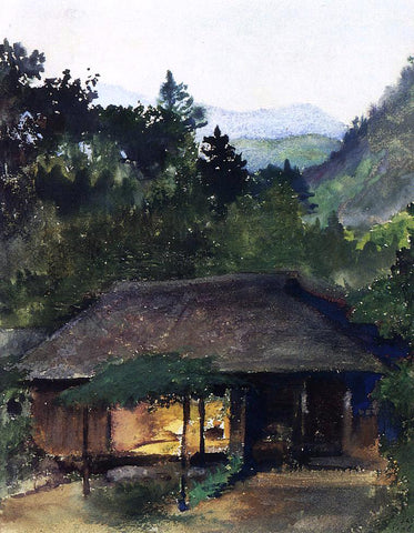 John La Farge Evening Study (also known as Priest's House, Nikko, Japan) - Hand Painted Oil Painting