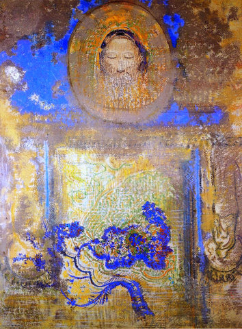 Odilon Redon Evocation (also known as Head of Christ or Inspiration from a Mosaic in Revenna) - Hand Painted Oil Painting