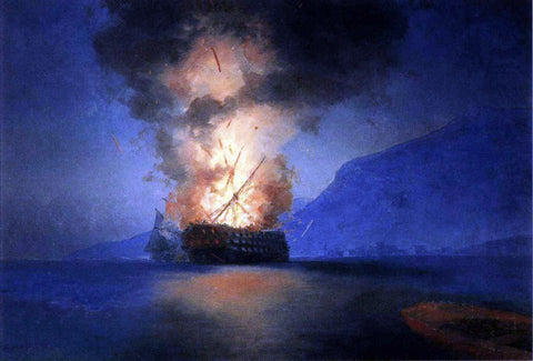 Ivan Constantinovich Aivazovsky Exploding Ship - Hand Painted Oil Painting
