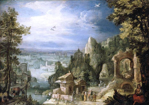 Anthonie Mirou Extensive Landscape with the Rest on the Flight into Egypt - Hand Painted Oil Painting