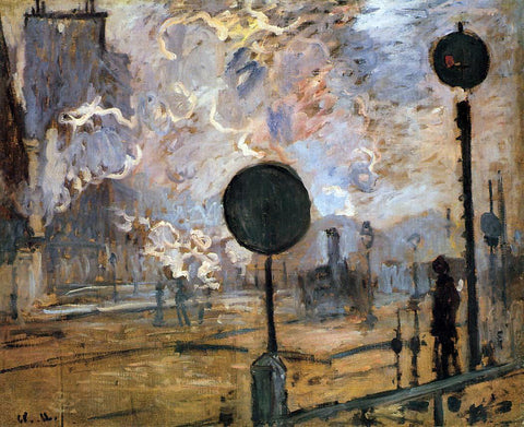 Claude Oscar Monet An Exterior of Saint-Lazare Station (also known as The Signal) - Hand Painted Oil Painting