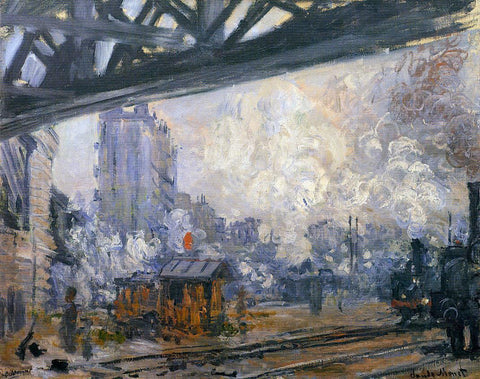 Claude Oscar Monet Exterior View of the Saint-Lazare Station - Hand Painted Oil Painting