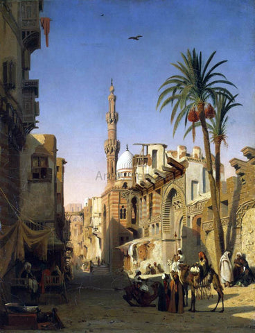Prosper Marilhat Ezbekiyah Street in Cairo - Hand Painted Oil Painting