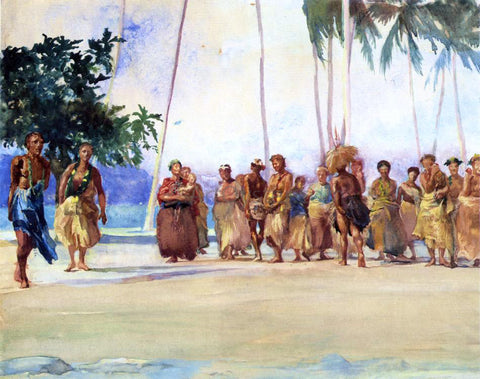 John La Farge Fagaloa Bay, Samoa, 1890, The Taupo, Gaase, Marshalling the Women Who Bring Presents of Food - Hand Painted Oil Painting