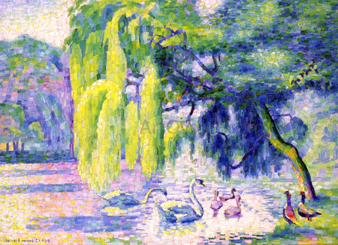 Henri Edmond Cross The Family of Swans - Hand Painted Oil Painting