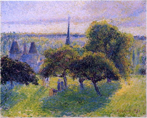 Camille Pissarro Farm and Steeple at Sunset - Hand Painted Oil Painting
