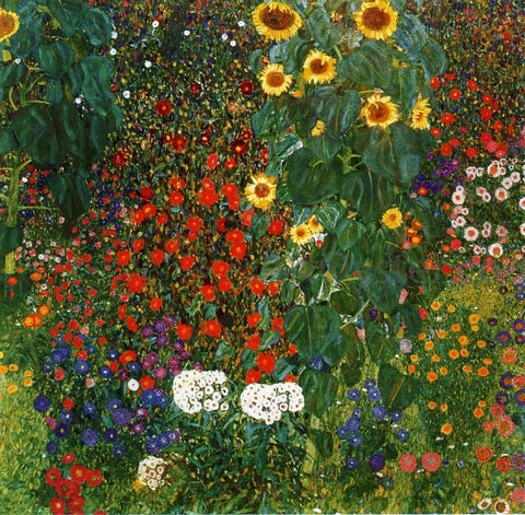 Gustav Klimt A Farm Garden with Sunflowers - Hand Painted Oil Painting