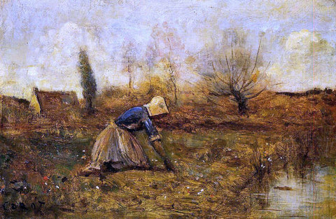 Jean-Baptiste-Camille Corot Farmer Kneeling Picking Dandelions - Hand Painted Oil Painting