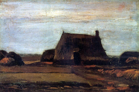Vincent Van Gogh The Farmhouse with Peat Stacks - Hand Painted Oil Painting