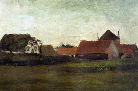 Vincent Van Gogh Farmhouses in Loosduinen near the Hague, in Twilight - Hand Painted Oil Painting