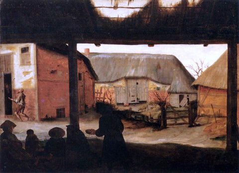 Cornelis Van Dalem Farmyard with a Beggar - Hand Painted Oil Painting