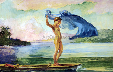John La Farge Fayaway Sails Her Boat, Samoa - Hand Painted Oil Painting